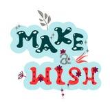 pomyśl życzenie Literowanie zwrot jest pociągany ręcznie w modnej kolor palecie ilustracja wektor