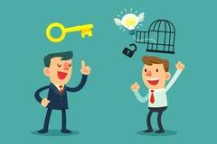 Pomyślna biznesmen pomoc otwiera pomysł ilustracja wektor
