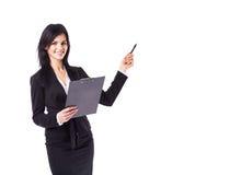 Pomyślna biznesowa kobieta, studia mapy zdjęcie royalty free
