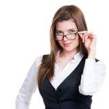 Pomyślna biznesowa kobieta w szarym kostiumu. Zdjęcia Stock
