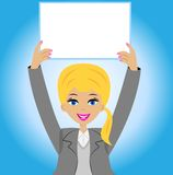 Pomyślna biznesowa kobieta z czystym stołem w rękach Obrazy Stock