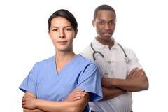 Pomyślna kobiety lekarka w pętaczkach Zdjęcia Royalty Free