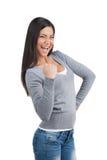 Pomyślna Szczęśliwa Indiańska kobieta cieszy się zwycięstwo. zdjęcie royalty free