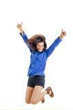 Pomyślna uśmiechnięta nastoletnia dziewczyna lub kobieta szczęśliwi dla jej sukcesu ja Obraz Royalty Free