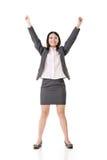 Pomyślne biznesowej kobiety ręki up Zdjęcie Royalty Free