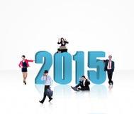 Pomyślni biznesmeni z liczbą 2015 Zdjęcia Stock