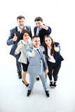 Pomyślni młodzi ludzie biznesu pokazuje aprobaty obrazy royalty free