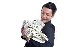 Pomyślni przedsięwzięcia gospodarcze Pieniądze dolar w ręce Zdjęcia Stock