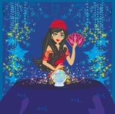 Pomyślność narratora kobiety czytelnicza przyszłość na magicznej kryształowej kuli royalty ilustracja