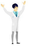 Pomyślny azjata lekarki doskakiwanie ilustracja wektor