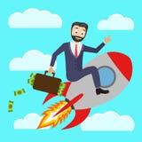 Pomyślny biznesmen lata rakietę w górę i trzyma walizkę pieniądze pełno ilustracja wektor
