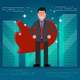 Pomyślny biznesmen, makler w kostiumu lub czerwień przylądek na miasta ro royalty ilustracja