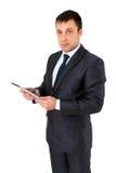 Pomyślny biznesmen odizolowywający na bielu fotografia royalty free