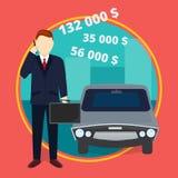 Pomyślny biznesmen opowiada telefon komórkowego przed samochodem ilustracja wektor