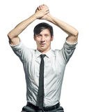 Pomyślny biznesmen robi zwycięstwo gestowi Obraz Stock