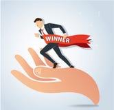 Pomyślny biznesmena bieg na dużej ręki wektorze, biznesowy pojęcie ilustracji