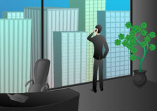 Pomyślny biznesowego mężczyzna telefon opowiada w biurze drapacz chmur fotografia royalty free