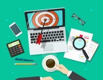 Pomyślny biznesowy cel, kierownik pracuje na laptopu znalezienia misi celu ilustracja wektor