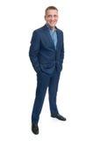 Pomyślny biznesowy mężczyzna w kostiumu obrazy stock