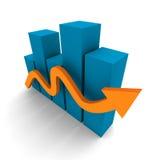 Pomyślny biznesowy prętowy wykres z wzrastać w górę czerwonej strzała Obrazy Royalty Free