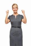 Pomyślny bizneswoman Zaciska pięści Zdjęcia Stock