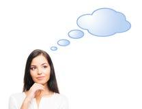 Pomyślny i piękny bizneswoman z błękitną chmurą Obraz Royalty Free