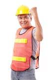 Pomyślny i twardy starszy pracownik budowlany lub inżynier fotografia royalty free