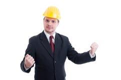Pomyślny i zwycięski inżynier architekt lub kontrahent, Zdjęcia Royalty Free