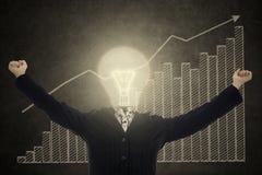 Pomyślny lampy głowy bizneswoman Zdjęcia Stock