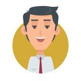 Pomyślny mężczyzna Avatar guzik Szczęśliwa Męska emocja ilustracja wektor