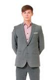 Pomyślny młody biznesmen w kostiumu obraz stock