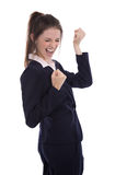 Pomyślny młody bizneswoman dosięgający celuje lub jest szczęśliwy robić zdjęcie stock