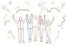 Pomyślny mienie Podnosić grup ludzi ręk biznesu Szczęśliwej drużyny Doodle Kolorowe sylwetki royalty ilustracja