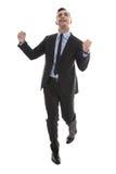 Pomyślny szczęśliwy młody biznesmen krawat i kostium - e - odosobniony - fotografia stock