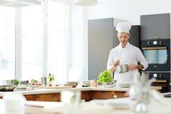 Pomyślny szef kuchni przygotowywa smakowitego jedzenie zdjęcia royalty free