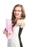 Pomyślna biznesowa kobieta pokazuje OK Zdjęcia Stock