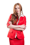 Pomyślna dama w czerwieni Obraz Stock