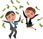 Pomyślna Biznesowa kobieta i mężczyzna pod pieniądze deszczem Obrazy Stock