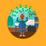 Pomyślna biznesowa kobieta pod pieniądze deszczem Zdjęcie Royalty Free