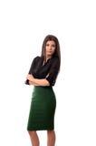 Pomyślna biznesowa kobieta z rękami składać Obraz Royalty Free