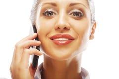 Pomyślny bizneswoman z telefonem komórkowym Zdjęcie Royalty Free