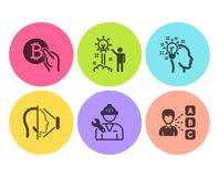 Pomysł, Bitcoin wynagrodzenie i twarzy id ikony ustawiać, Kreatywnie pomysł, Repairman i opinia znaki, wektor ilustracja wektor
