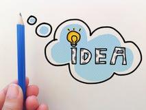Pomysłu słowa bąbel z ręką niesie błękitnego ołówkowego białego tło zdjęcia royalty free