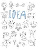 Pomysł, brainstorming ikony w Doodle stylu wektorze royalty ilustracja