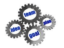 Pomysł, drużyna, plan, cel w srebnego grey gearwheels Obrazy Stock