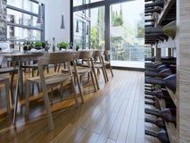 Pomysł wino stojak przy zaawansowany technicznie domem obraz royalty free