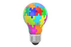 Pomysłu pojęcie, lightbulb od łamigłówka kawałków świadczenia 3 d Zdjęcia Royalty Free
