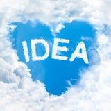 Pomysłu słowo na niebieskim niebie Zdjęcie Stock