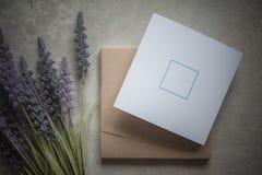 Pomysłu zaproszenia rocznika ślubu setu pudełka karta Fotografia Royalty Free