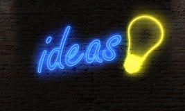 pomysły i żarówki neonowy światło na nocy alei na ściana z cegieł mózg fotografia stock
